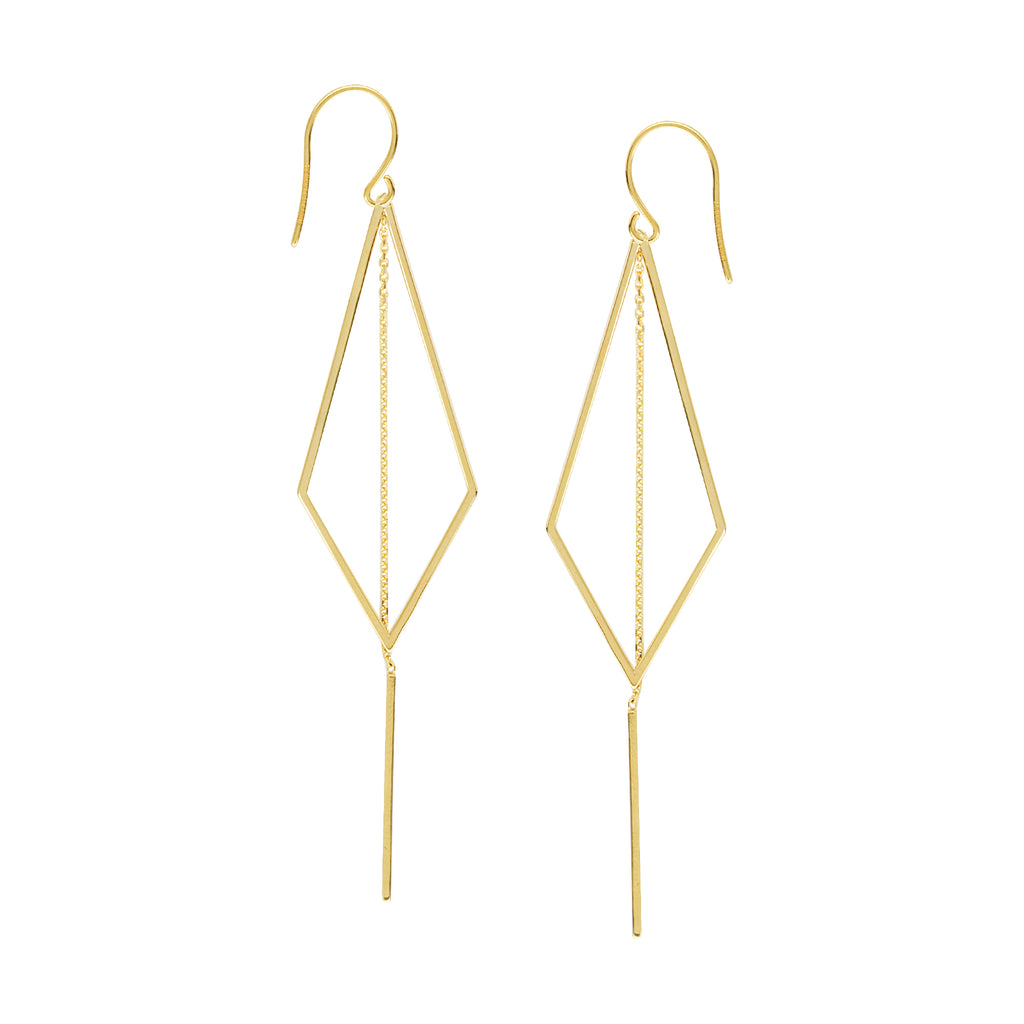 Kite Triangle Drop Earrings 14k Yellow Gold with Chain and Bar