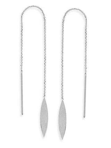 Threader Earrings 14K White Gold Polished Marquise Leaf and Bar with Box Chain