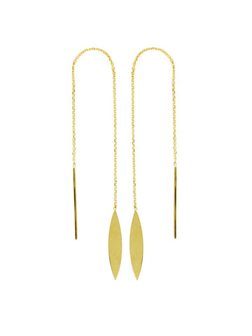 Threader Earrings 14K Yellow Gold Polished Marquise Leaf and Bar with Box Chain