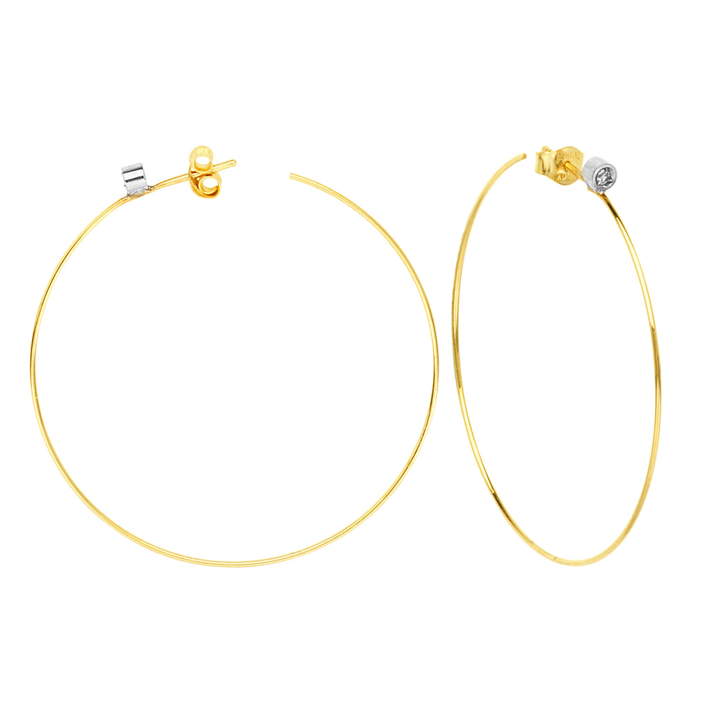 Hawley Street 14k Yellow Gold Wire Hoop Earrings with Diamond Accents