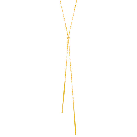 14k Yellow Gold Lariat Necklace with Bar Drops Adjustable Length