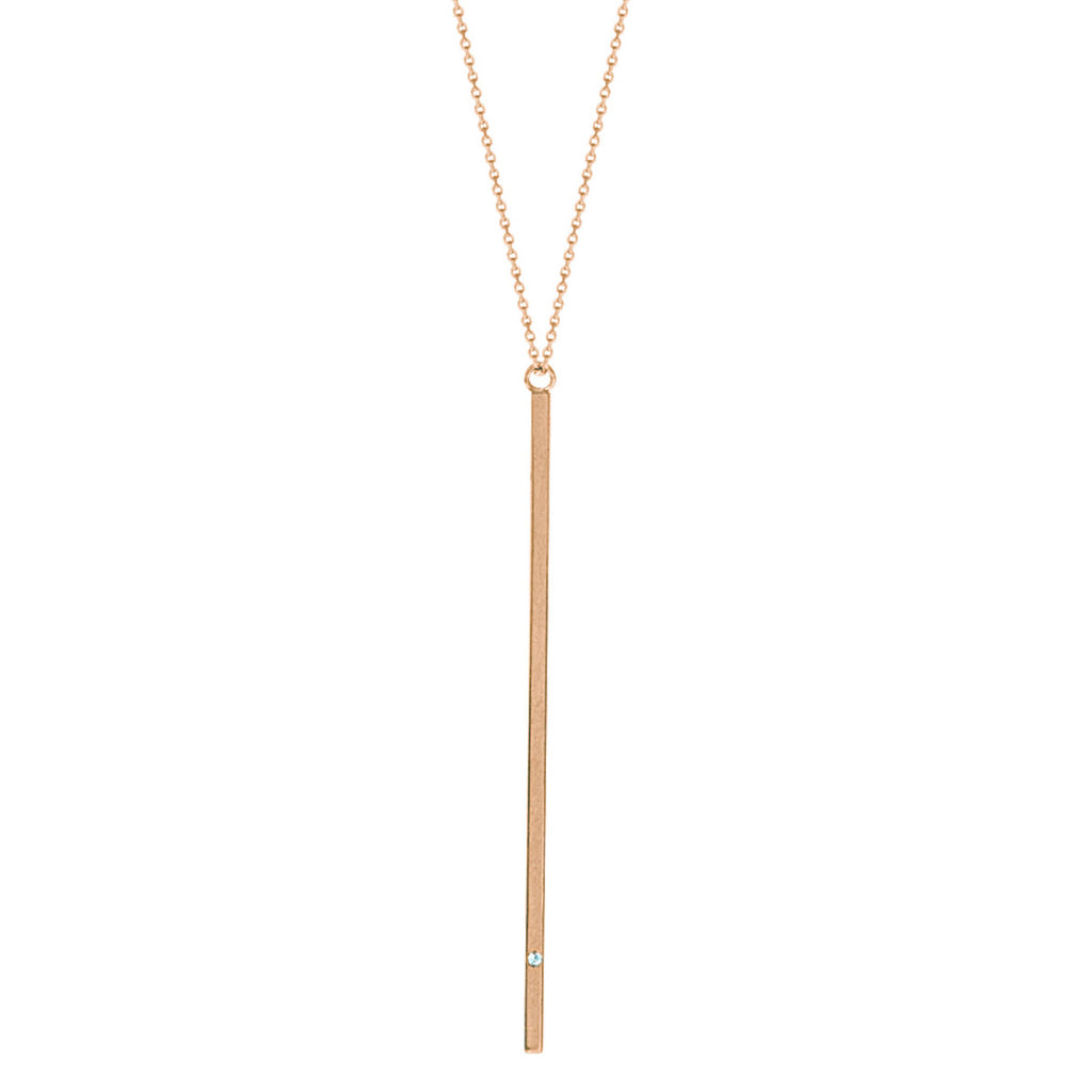 14k Rose Gold Matchstick Y-style Necklace with Diamond Accent Adjustable Length