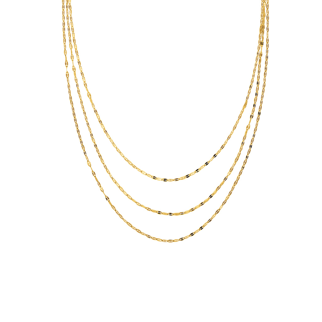 14k Yellow Gold Hammered Mariner Chain Necklace