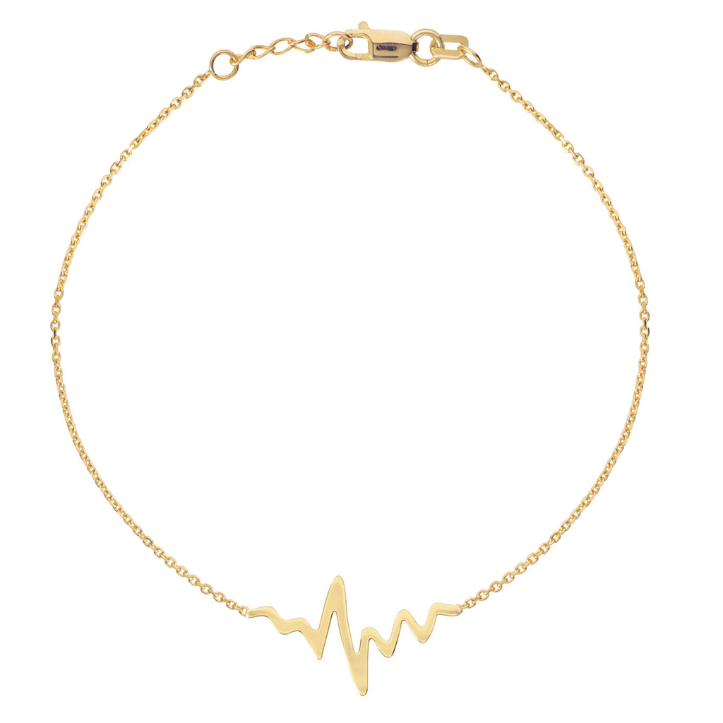 14k Yellow Gold East2West HeartBeat Bracelet Polished Adjustable Length