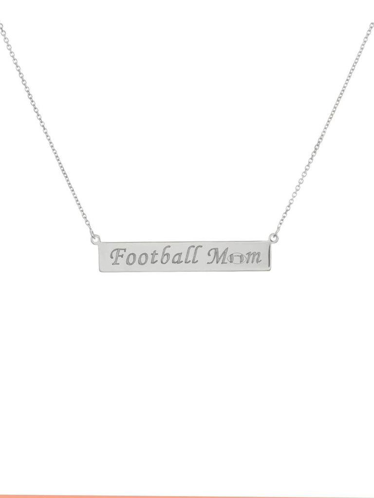 Engraved FOOTBALL MOM Bar Necklace Rhodium on Sterling Silver - Adjustable Length