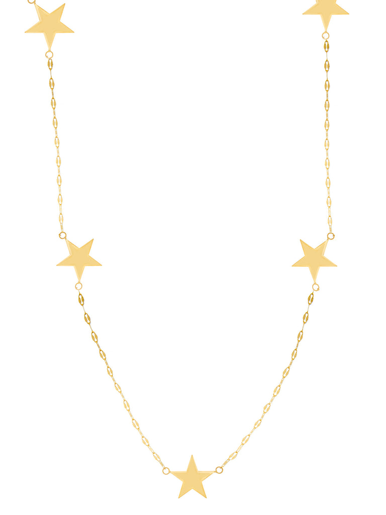 14k Yellow Gold Station Star Necklace Adjustable Length