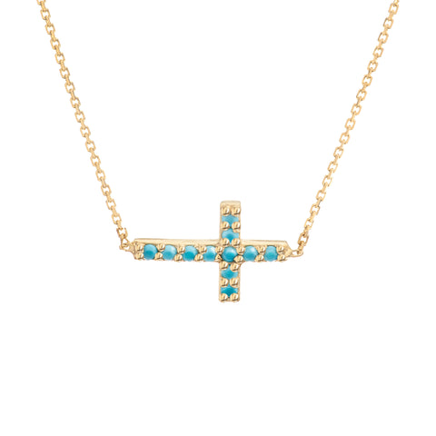 14k Yellow Gold Cross Necklace with Simulated Nano Turquoise Adjustable Length