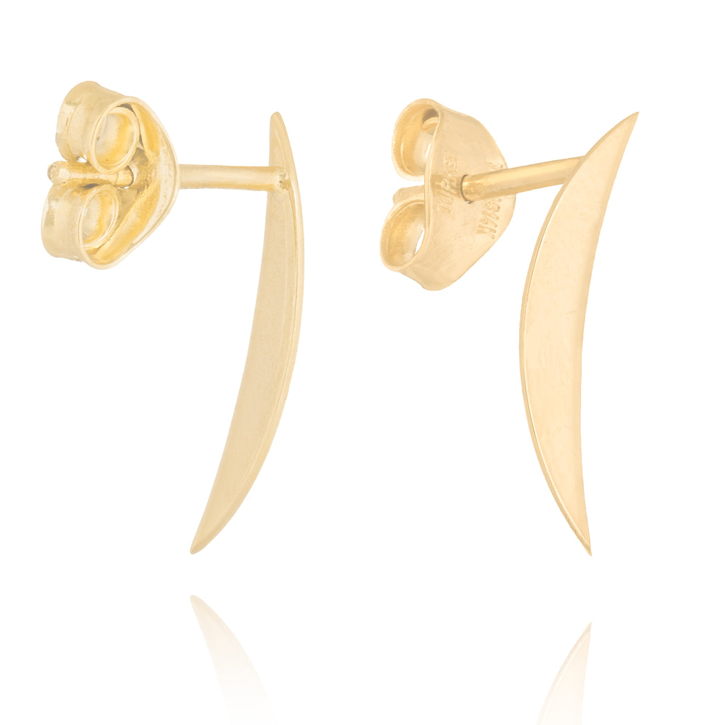 14k Yellow Gold Half Crescent Moon Post Stud Earrings
