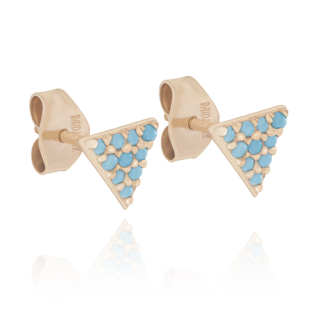 14k Yellow Gold Triangle Stud Earrings with Simulated Nano Turquoise