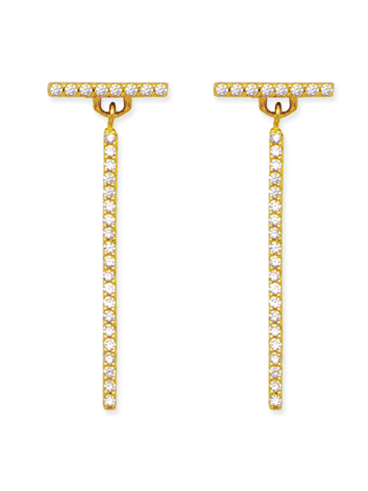 14k Yellow Gold T Stick Bar Post Stud and Dangle Earrings with Cubic Zirconia