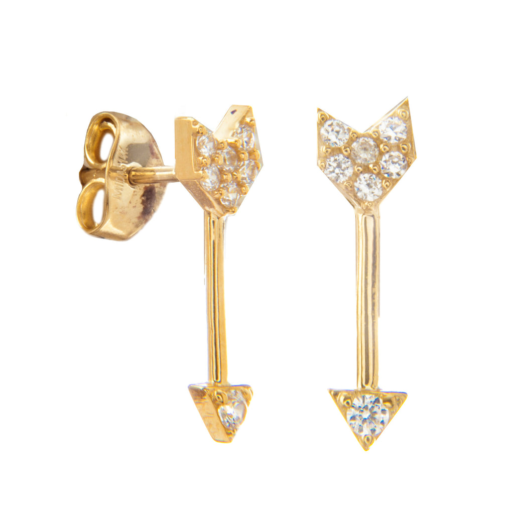 14k Yellow Gold Arrow Post Stud Earrings with Cubic Zirconia