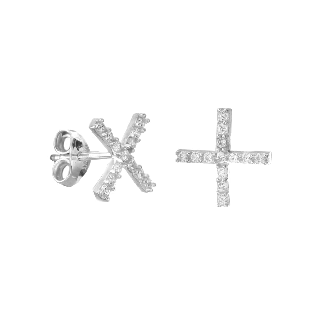 14k White Gold X Stud Earrings with Cubic Zirconia