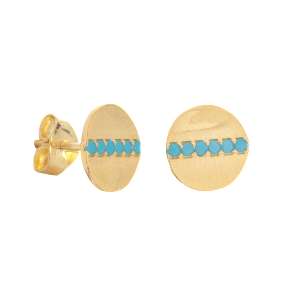 14k Yellow Gold Disc Stud Earrings with Simulated Nano Turquoise