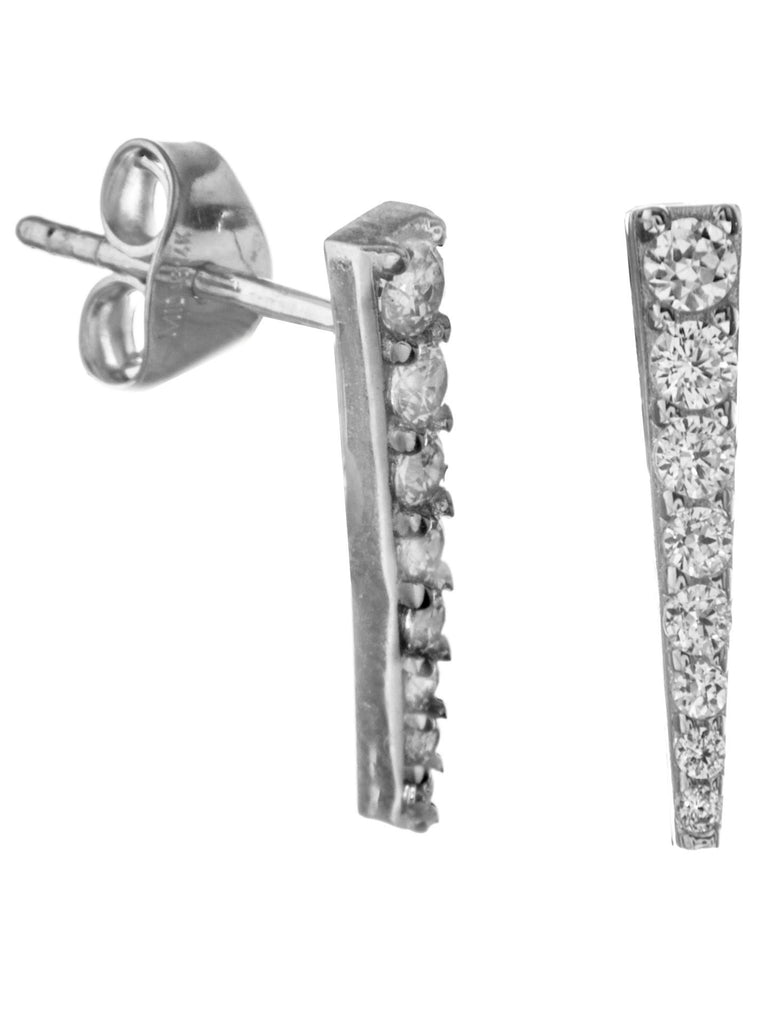 14k White Gold Bar Post Stud Earrings with Cubic Zirconia