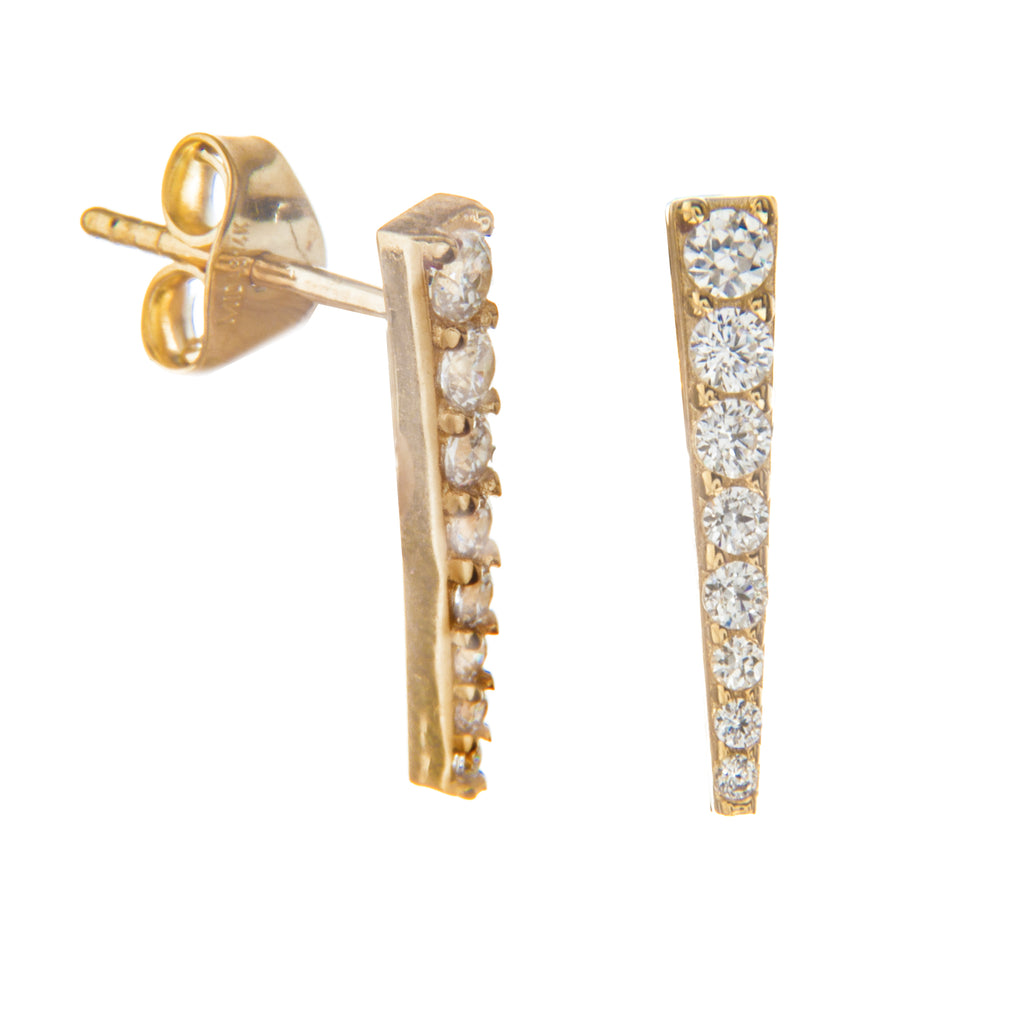 14k Yellow Gold Bar Post Stud Earrings with Cubic Zirconia