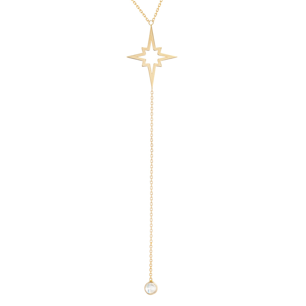 14k Yellow Gold Hawley Street Y-style Necklace with Starburst and Cubic Zirconia