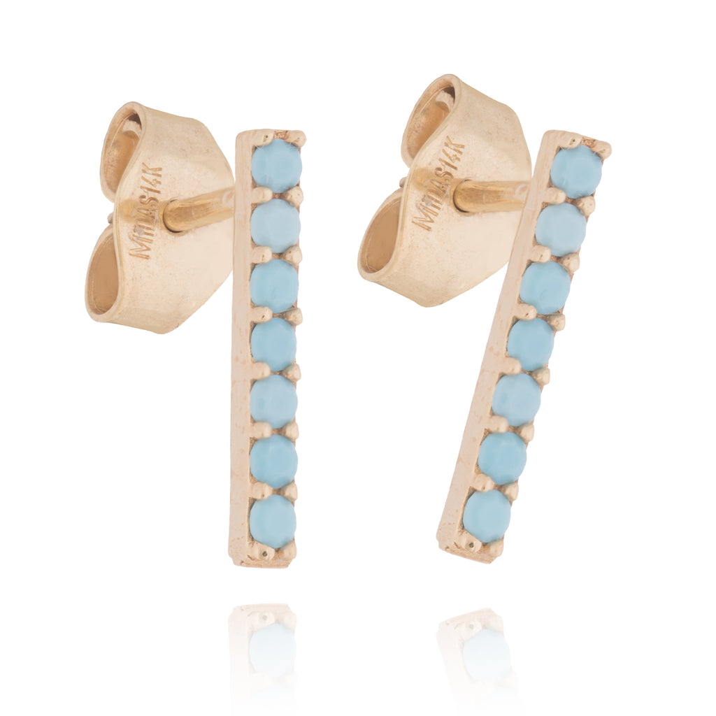14k Yellow Gold Bar Post Stud Earrings with Simulated Nano Turquoise