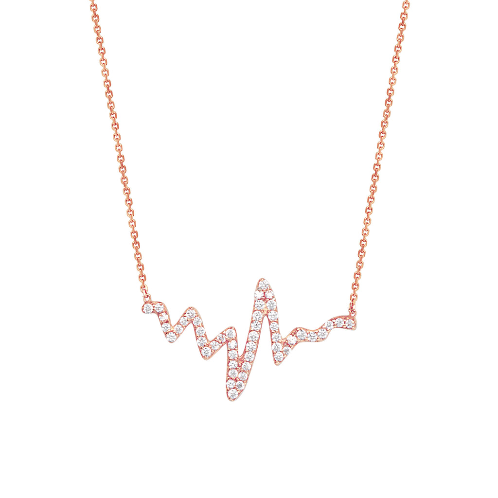 Heartbeat Necklace with Cubic Zirconia Rose Gold-plated Sterling Silver Adjustable