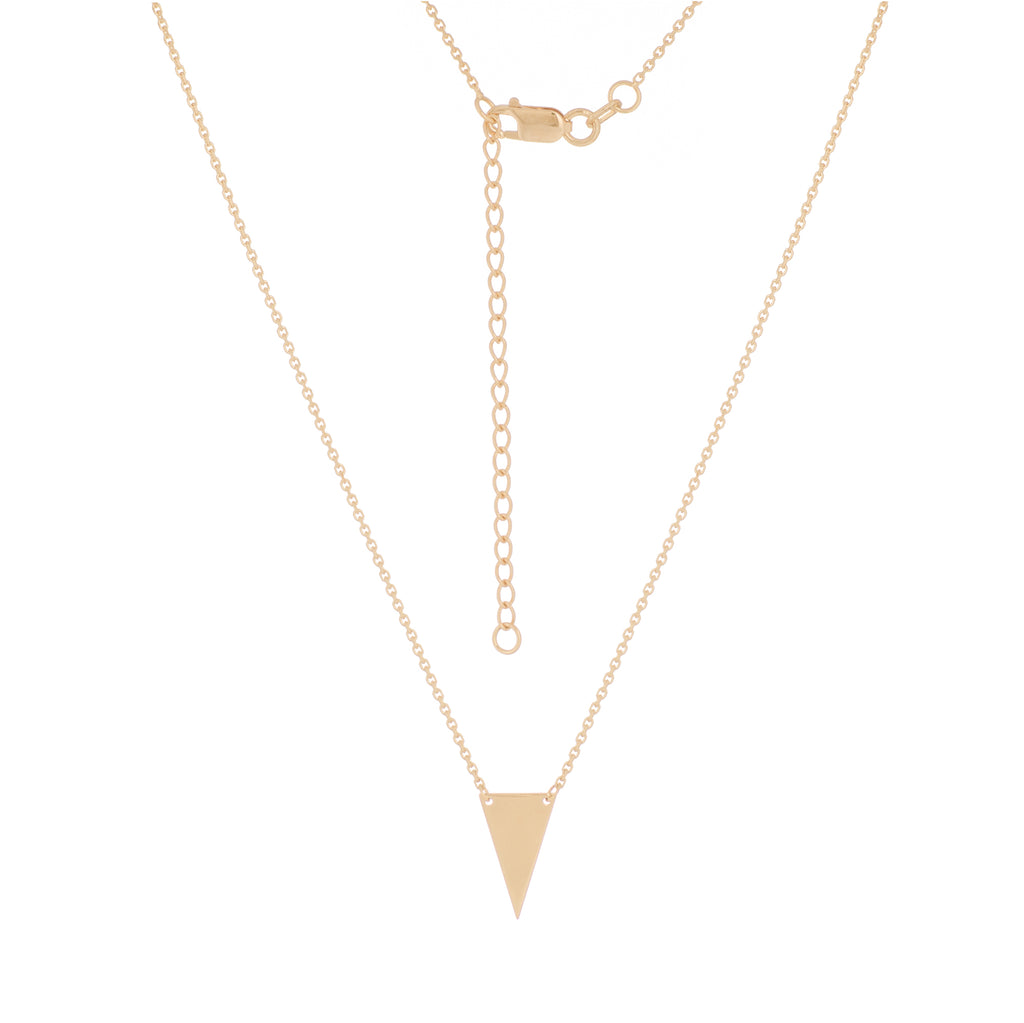 Mini Triangle Necklace 14k Yellow Gold Adjustable Length