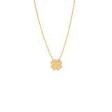 14k Yellow Gold Clover Necklace on Rope Chain Adjustable Length - So You