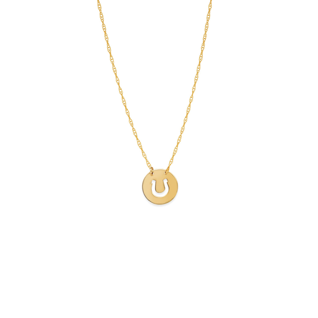 14k Yellow Gold Cut Out Horseshoe Necklace on Rope Chain Adjustable Length - So You