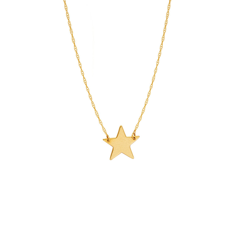 14k Yellow Gold Star Necklace on Rope Chain Adjustable Length - So You