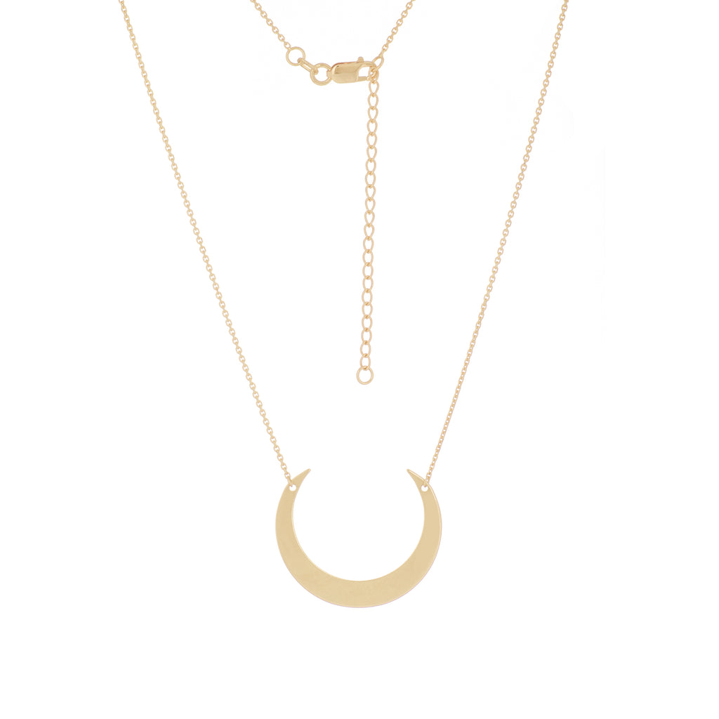 14k Yellow Gold Crescent Necklace Adjustable Length
