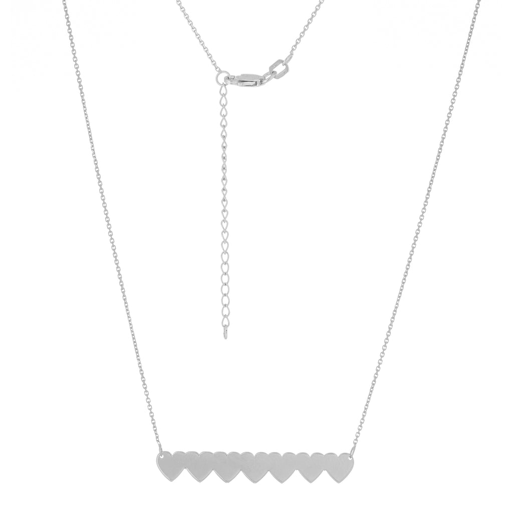 Seven Heart Bar Necklace Rhodium on Sterling Silver Adjustable Length