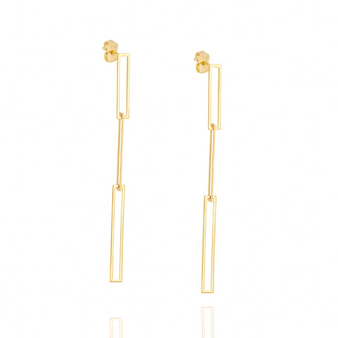 Interlocking Rectangle Earrings 14k Yellow Gold