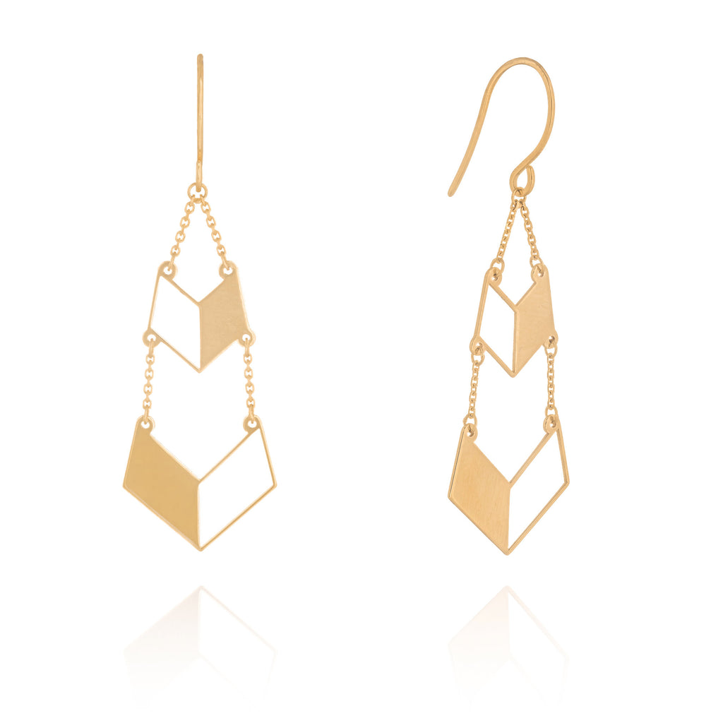 14k Yellow Gold Earrings with Chain and Graduated Open and Solid Geometric Shape