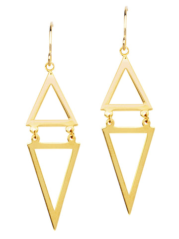 Draw the Line Double Diamond-shape Hinged Geometric Earrings 14k Yellow Gold