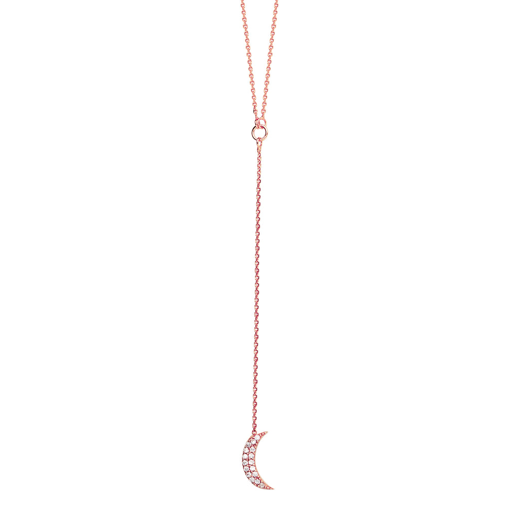 Y-style Crescent Moon Necklace with Cubic Zirconia Adjustable Length 14k Rose Gold
