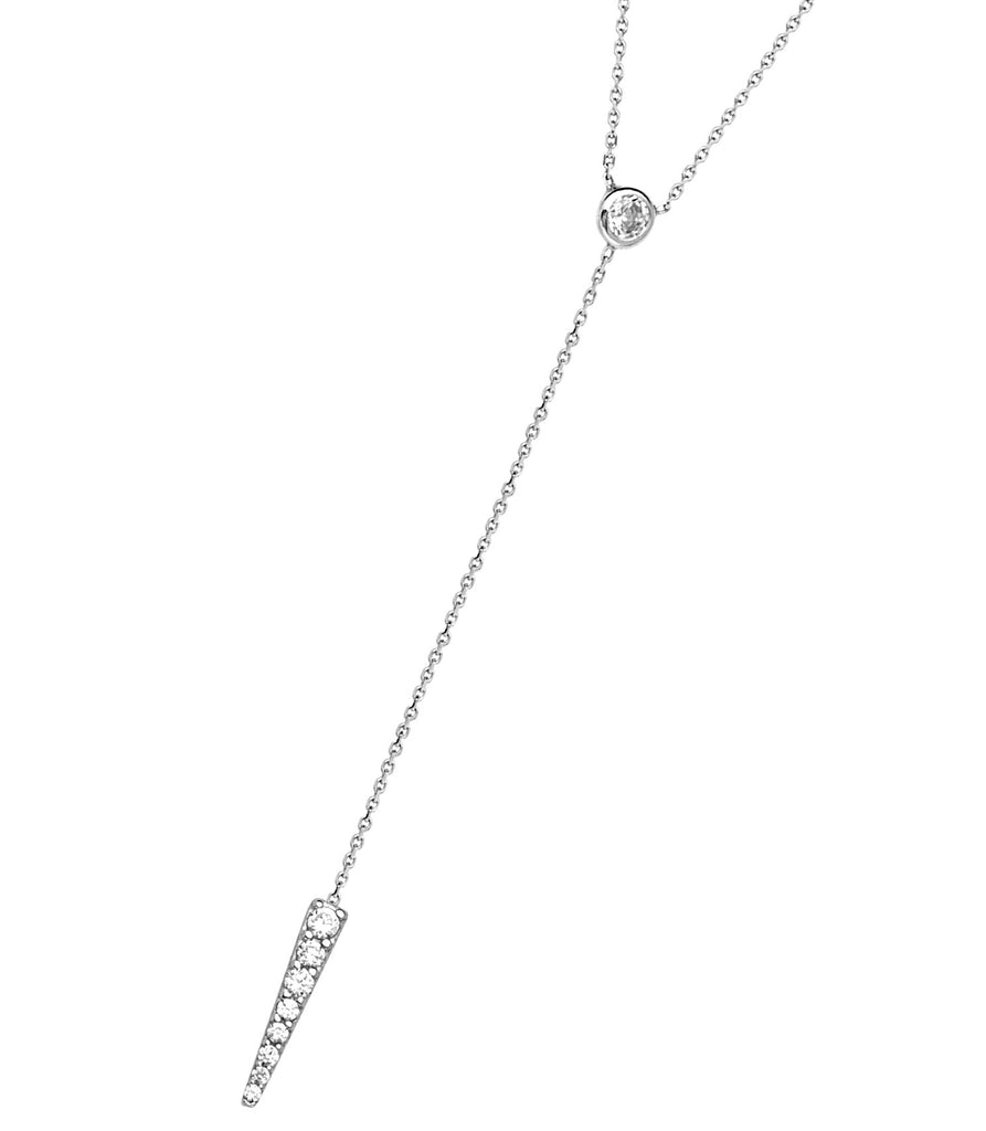 Y-style Lariat Necklace with Cubic Zirconia Adjustable Length 14k White Gold
