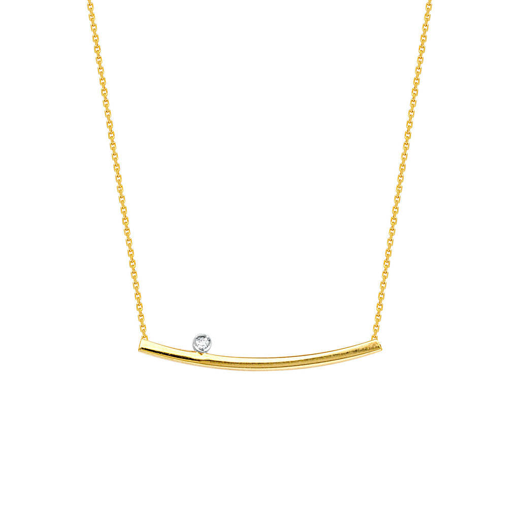 East 2 West Bar Necklace 14k Yellow Gold with Diamond Accent