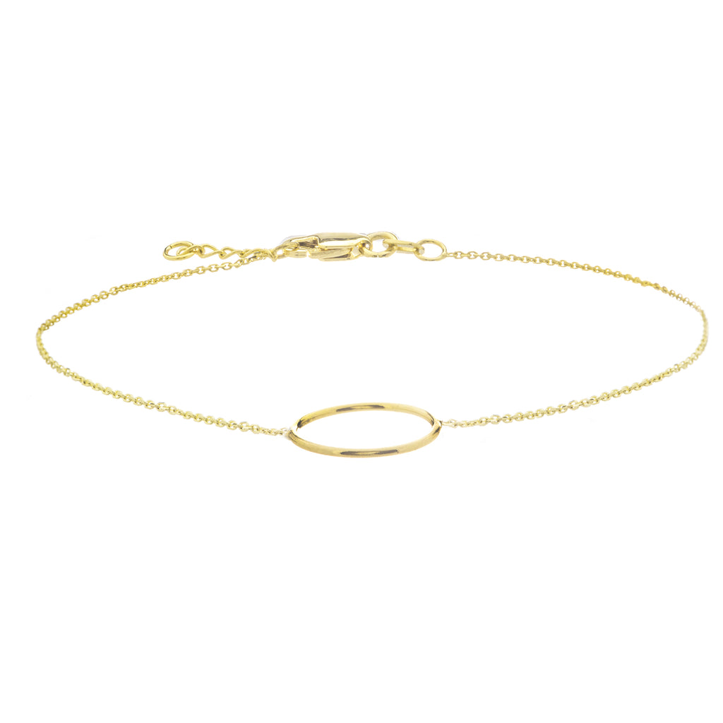 14k Yellow Gold Open Circle Bracelet Adjustable Length - East2West