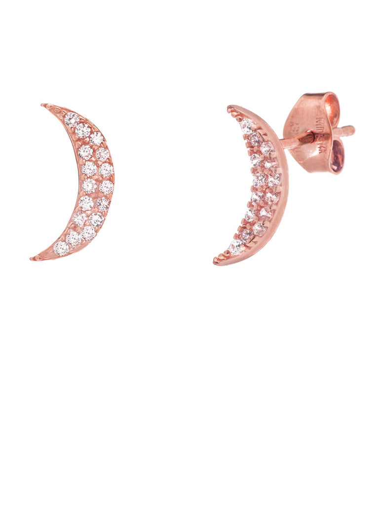 14k Rose Gold Crescent Moon Post Stud Earrings with Cubic Zirconia