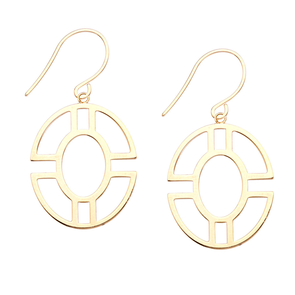 14k Yellow Gold Earrings with Open Double Circle Oval Geometric Shape