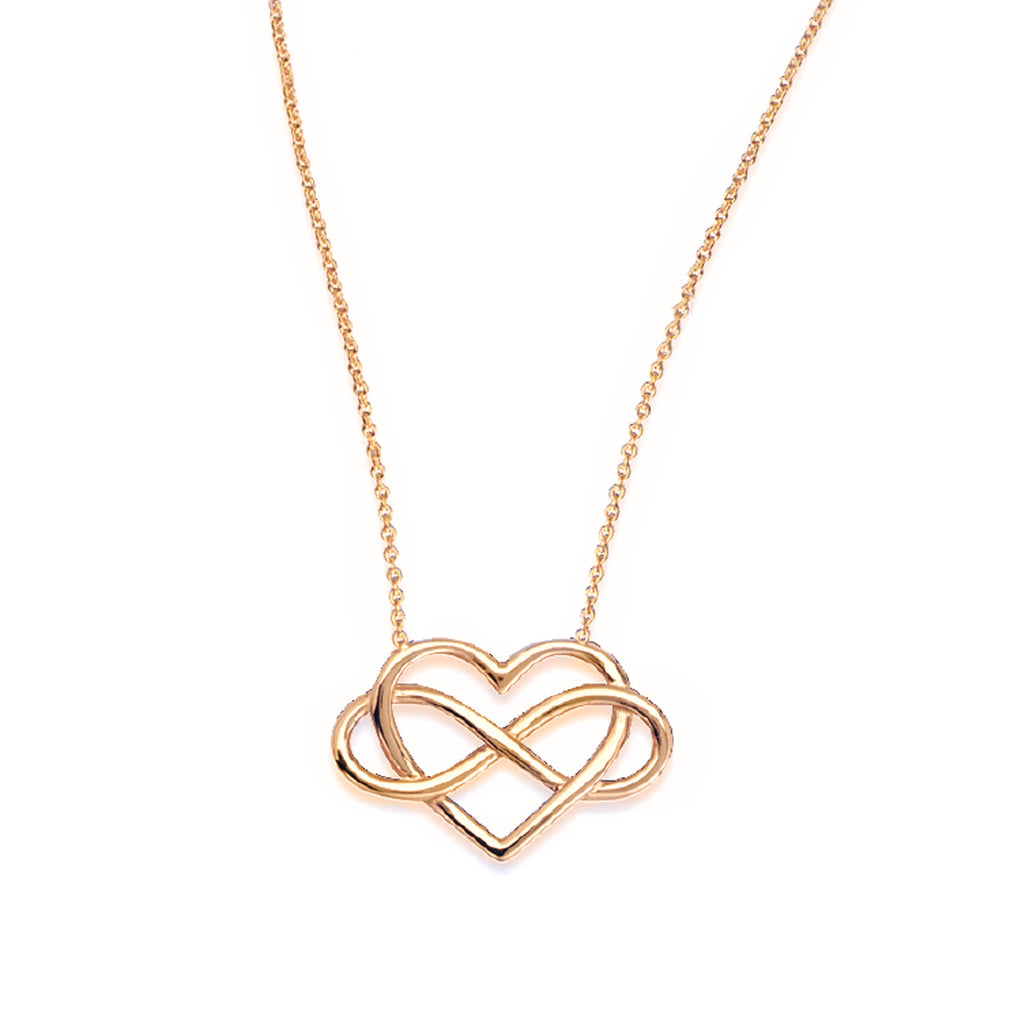 14k Yellow Gold Infinity and Heart Necklace Adjustable Length