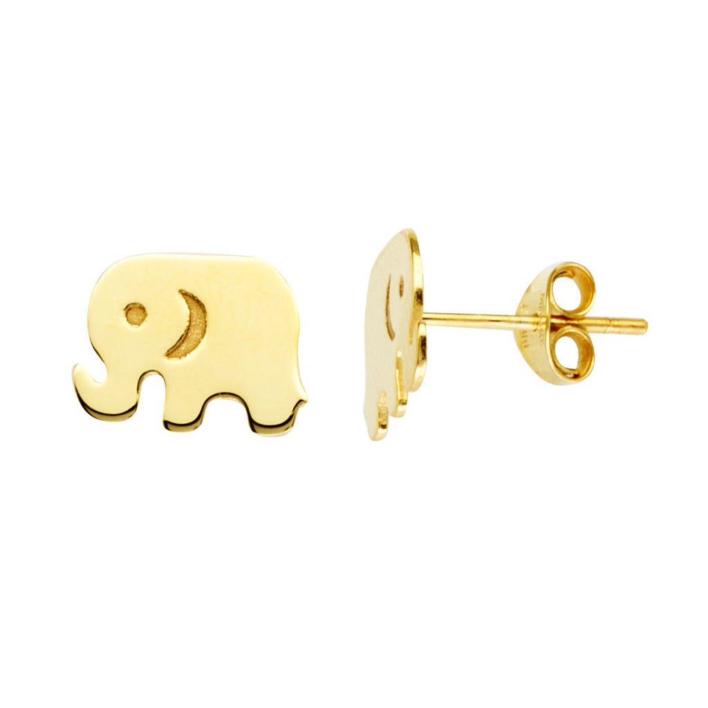 14k Yellow Gold Elephant Stud Earrings