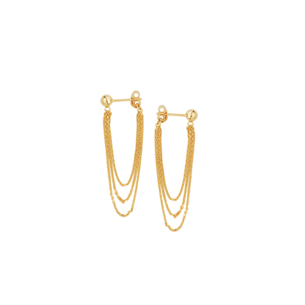 Three Chain Ball Post Earrings 14k Yellow Gold Front Back Design