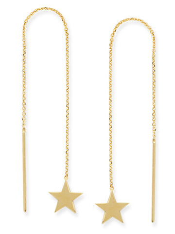 Threader Earrings 14K Yellow Gold Polished Star and Bar with Box Chain