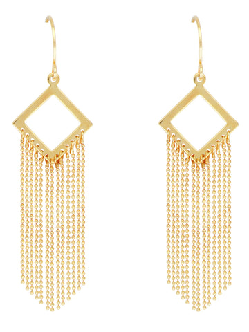 Waterfall Chain Earrings Diamond-shape 14k Yellow Gold