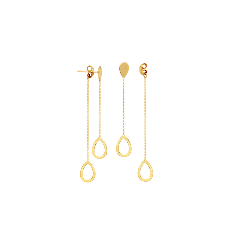 Front Back Chain Ball Post Earrings 14k Yellow Gold with Teardrop Drops