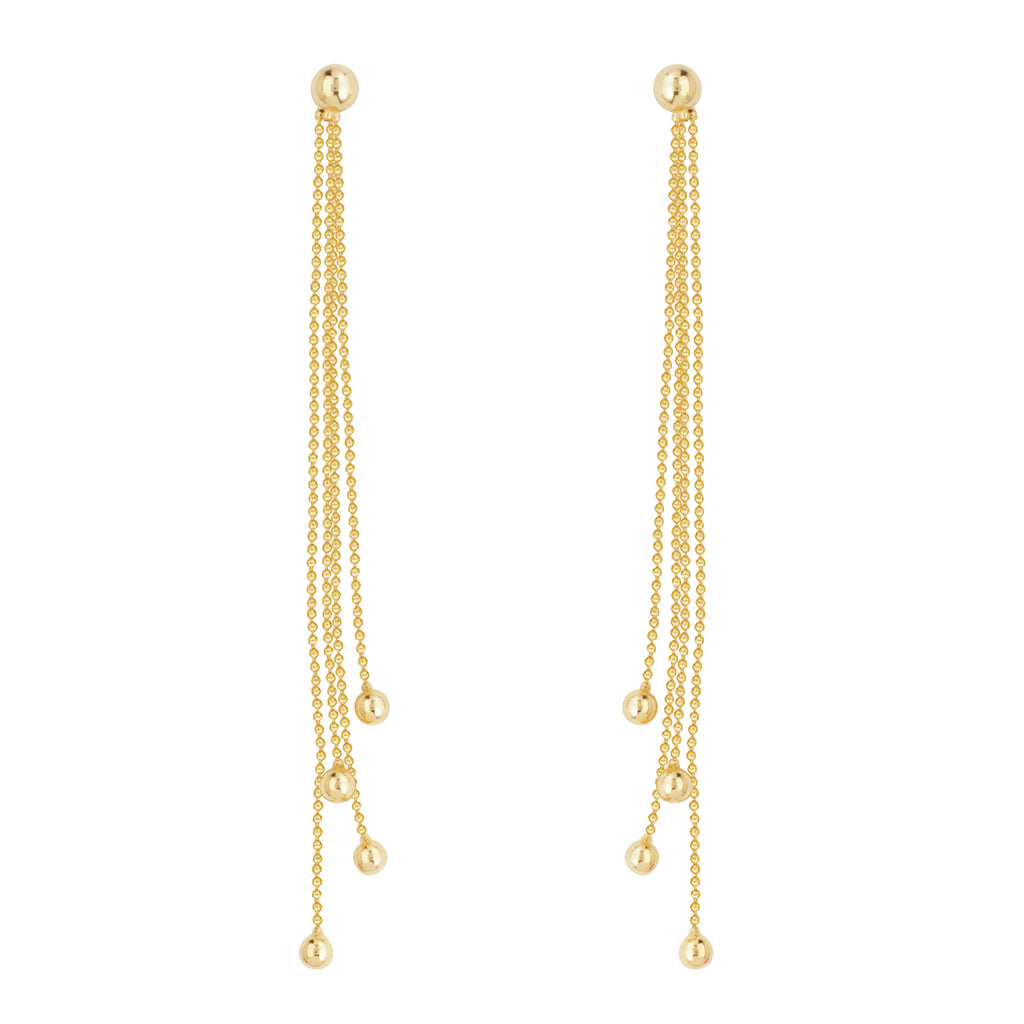 Ball and Chain Drop Earrings 14k Yellow Gold with Ball Post and Four Chains
