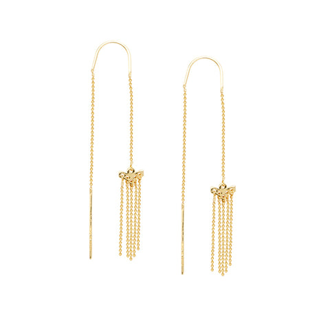Threader Earrings 14K Yellow Gold with Bar Back and Waterfall Bead Chain Front