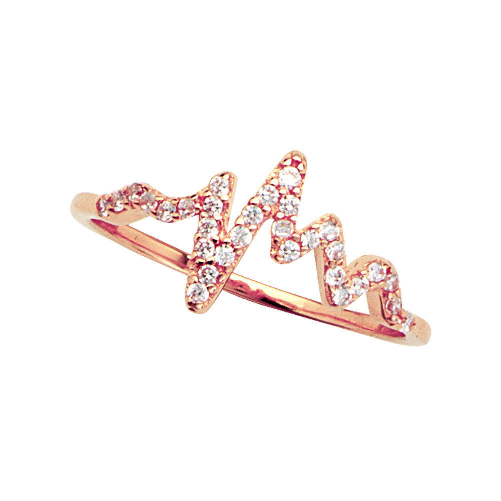 14k Rose Gold Heartbeat Ring with Cubic Zirconia