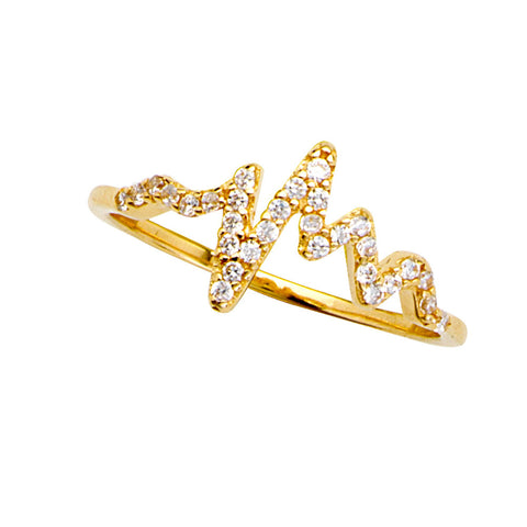 14k Yellow Gold Heartbeat Ring with Cubic Zirconia