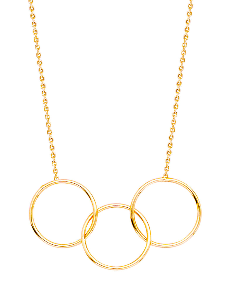 14k Yellow Gold Triple Ring Necklace Adjustable Length