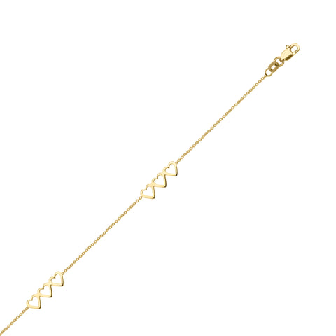 14k Yellow Gold Anklet Ankle Bracelet Adjustable with Sets of Triple Open Hearts