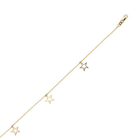 Anklet 14k Yellow Gold Adjustable Length with Star Dangle Drops